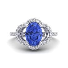 1.75 CTW Tanzanite & Micro Pave VS/SI Diamond Ring 10K White Gold - REF-53K3W - 20995