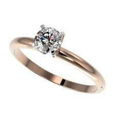 0.54 CTW Certified H-SI/I Quality Diamond Solitaire Engagement Ring 10K Rose Gold - REF-65X5T - 36373