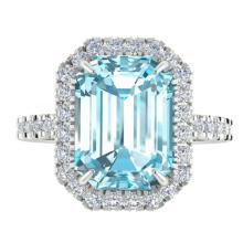 6.03 CTW Sky Blue Topaz & Micro Pave VS/SI Diamond Halo Ring 18K White Gold - REF-61T8M - 21420