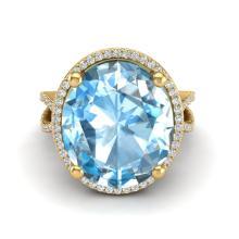 12 CTW Sky Blue Topaz & Micro Pave VS/SI Diamond Halo Ring 18K Yellow Gold - REF-84X2T - 20956