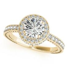 1.51 CTW Certified VS/SI Diamond Solitaire Halo Ring 14K Yellow Gold - REF-377T8M - 24787