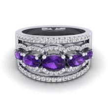 2.25 CTW Amethyst & Micro Pave VS/SI Diamond Designer Ring 10K White Gold - REF-66K9W - 20792