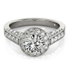 1.5 CTW Certified VS/SI Diamond Solitaire Halo Ring 14K White Gold - REF-219T3M - 24629