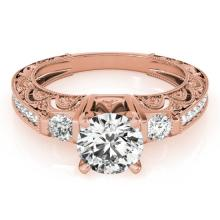 1.63 CTW Certified VS/SI Diamond Solitaire Antique Ring 14K Rose Gold - REF-493W3F - 25134
