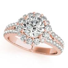 2.51 CTW Certified VS/SI Diamond Solitaire Halo Ring 14K Rose Gold - REF-605X4T - 24552