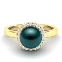 0.25 CTW Micro Pave Halo VS/SI Diamond & Peacock Pearl Ring 18K Yellow Gold - REF-53T6M - 21637