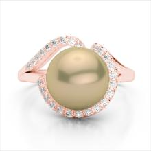 0.27 CTW VS/SI Diamond & Golden Pearl Designer Ring 14K Rose Gold - REF-50K8W - 22619