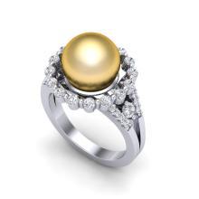 0.83 Ct Micro Pave VS/SI Diamond & Golden Pearl Halo Ring 18K White Gold - REF-83W8F - 20702