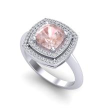 1.92 CTW Morganite & Micro VS/SI Diamond Pave Halo Ring 18K White Gold - REF-72T5M - 20765