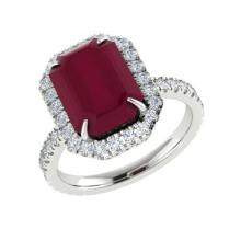 5.33 CTW Ruby And Micro Pave VS/SI Diamond Halo Ring 18K White Gold - REF-94M4H - 21432