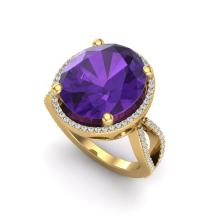 10 CTW Amethyst & Micro Pave VS/SI Diamond Halo Ring 18K Yellow Gold - REF-80W2F - 20953