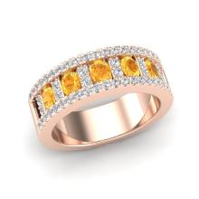 2 CTW Citrine & Micro VS/SI Diamond Inspired B& Ring 10K Rose Gold - REF-61N8Y - 20821