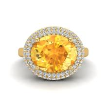 4 CTW Citrine & Micro Pave VS/SI Diamond Ring 18K Yellow Gold - REF-98T5M - 20912