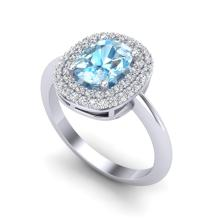 2.50 CTW Sky Blue Topaz With Micro VS/SI Diamond Ring Halo 14K White Gold - REF-68M2H - 20737