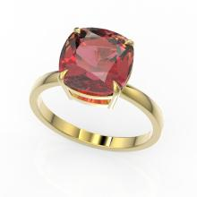 6 CTW Cushion Cut Pink Tourmaline Inspired Solitaire Stud Ring 18K Yellow Gold - REF-93T6M - 22197