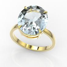 9 CTW Aquamarine Designer Solitaire Engagement Ring 18K Yellow Gold - REF-210K4W - 22093