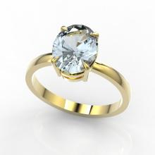 2.50 CTW Aquamarine Designer Inspired Solitaire Ring 18K Yellow Gold - REF-51W8F - 22053