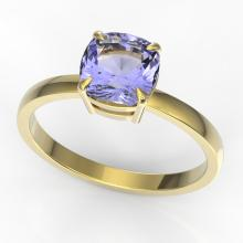 2 CTW Cushion Cut Tanzanite Designer Engagement Ring 18K Yellow Gold - REF-70H2A - 22164