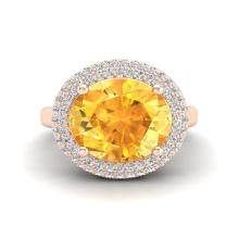 4 CTW Citrine & Micro Pave VS/SI Diamond Ring 14K Rose Gold - REF-89M8H - 20910
