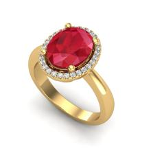 3 CTW Ruby And Micro Pave VS/SI Diamond Ring Halo 18K Yellow Gold - REF-64N9Y - 21113