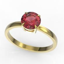 2 CTW Pink Tourmaline Designer Inspired Solitaire Engagement Ring 18K Yellow Gold - REF-42N4Y - 22237