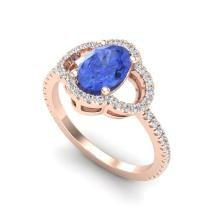1.75 CTW Tanzanite & Micro Pave VS/SI Diamond Ring 10K Rose Gold - REF-53M3H - 20994
