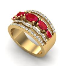 2.25 CTW Ruby & Micro Pave VS/SI Diamond Designer Ring 10K Yellow Gold - REF-71N3Y - 20803