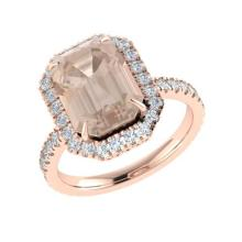 4.50 CTW Morganite & Micro Pave VS/SI Diamond Halo Ring 14K Rose Gold - REF-91H6A - 21430