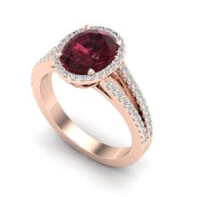3 CTW Garnet & Micro VS/SI Diamond Halo Ring 14K Rose Gold - REF-57T6M - 20940