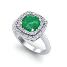 2.52 CTW Emerald & Micro VS/SI Diamond Pave Halo Ring 18K White Gold - REF-74T5M - 20759