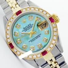 Rolex Men's 2Tone 14K Gold/ SS, QuickSet, Diam Dial & Diam/Ruby Bezel - REF#469A3M