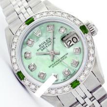 Rolex Men's Stainless Steel, QuickSet, Diam Dial & Diam/Emerald Bezel - REF#425V5H