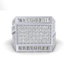3 CTW VS/SI Diamond Certified Baguette & Round Men's Ring 14K Gold - REF-220R2K - 22591