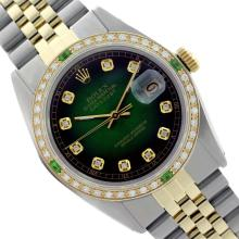 Rolex Men's Two Tone 14K Gold/SS, QuickSet, Diam Dial & Diam/Emerald Bezel - REF-557K7T