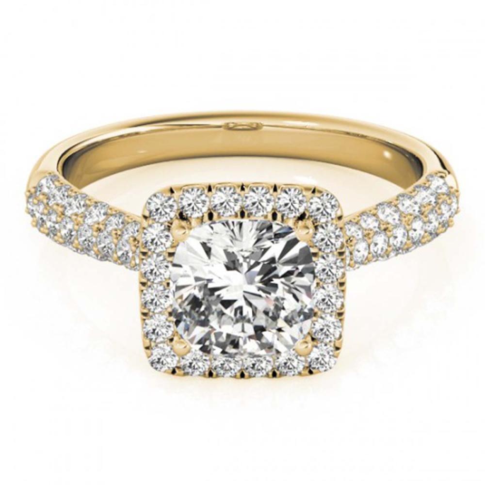 1 ctw VS/SI Cushion Diamond Halo Ring 14K Yellow Gold - REF-115V3Y - SKU:24946