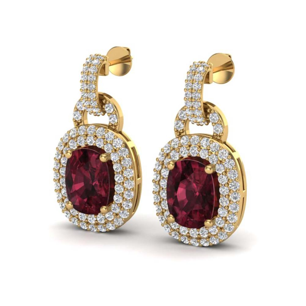 5 ctw Garnet And VS/SI Diamond Earrings Halo 14K Yellow Gold - REF-150M2F - SKU:20149