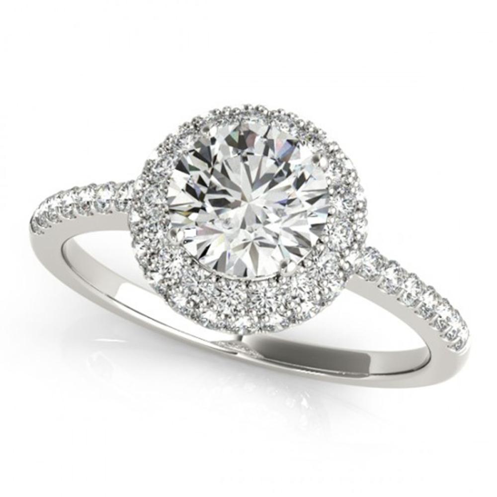 1.10 ctw VS/SI Diamond Solitaire Halo Ring 14K White Gold - REF-137R6K - SKU:24330