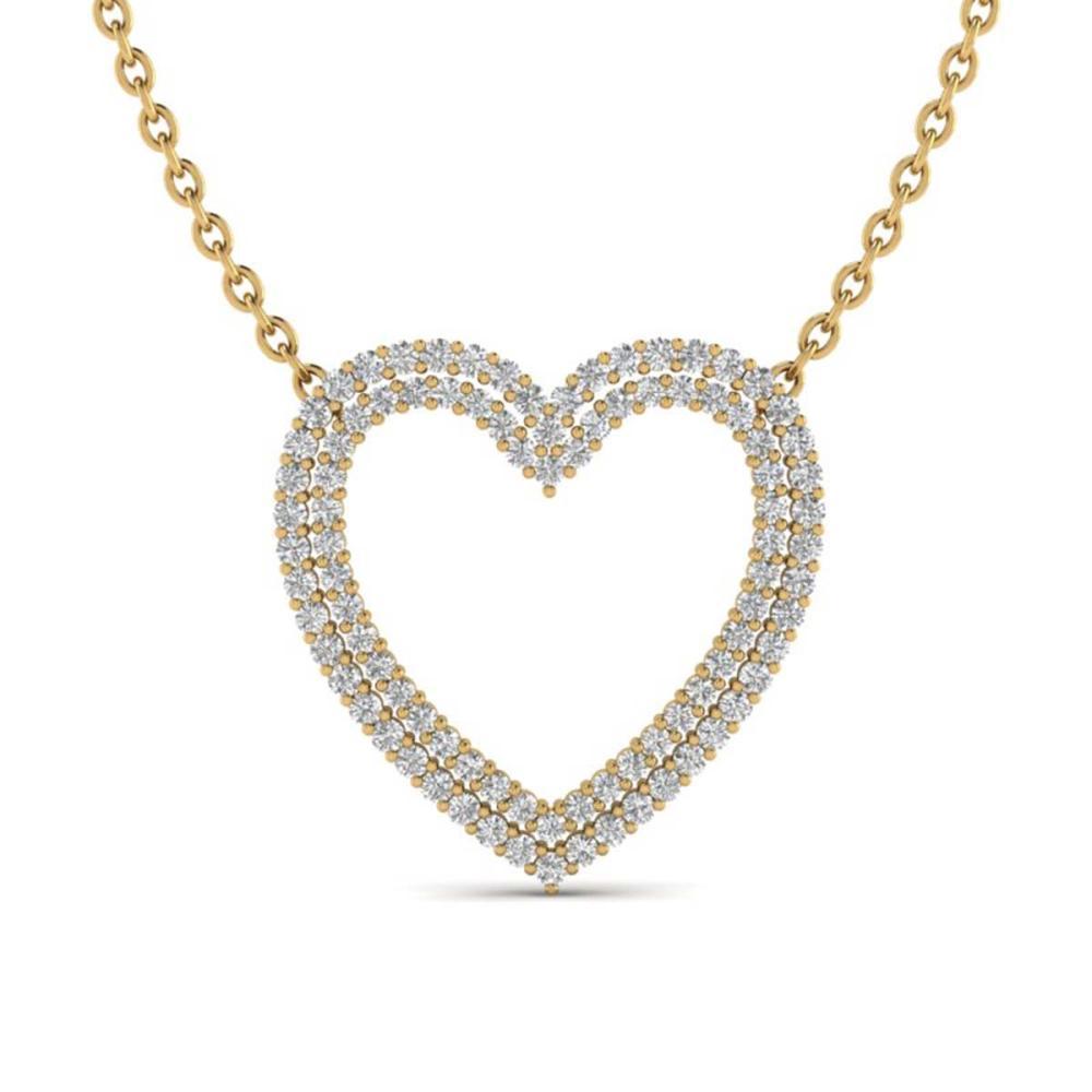 2 ctw VS/SI Diamond Heart Halo Necklace 14K Yellow Gold - REF-134R7K - SKU:20482