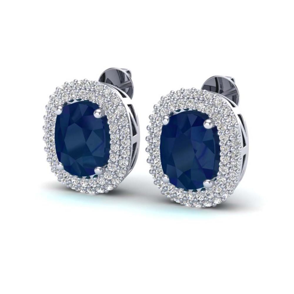 6.30 ctw Sapphire & VS/SI Diamond Earrings 18K White Gold - REF-160F9N - SKU:20126