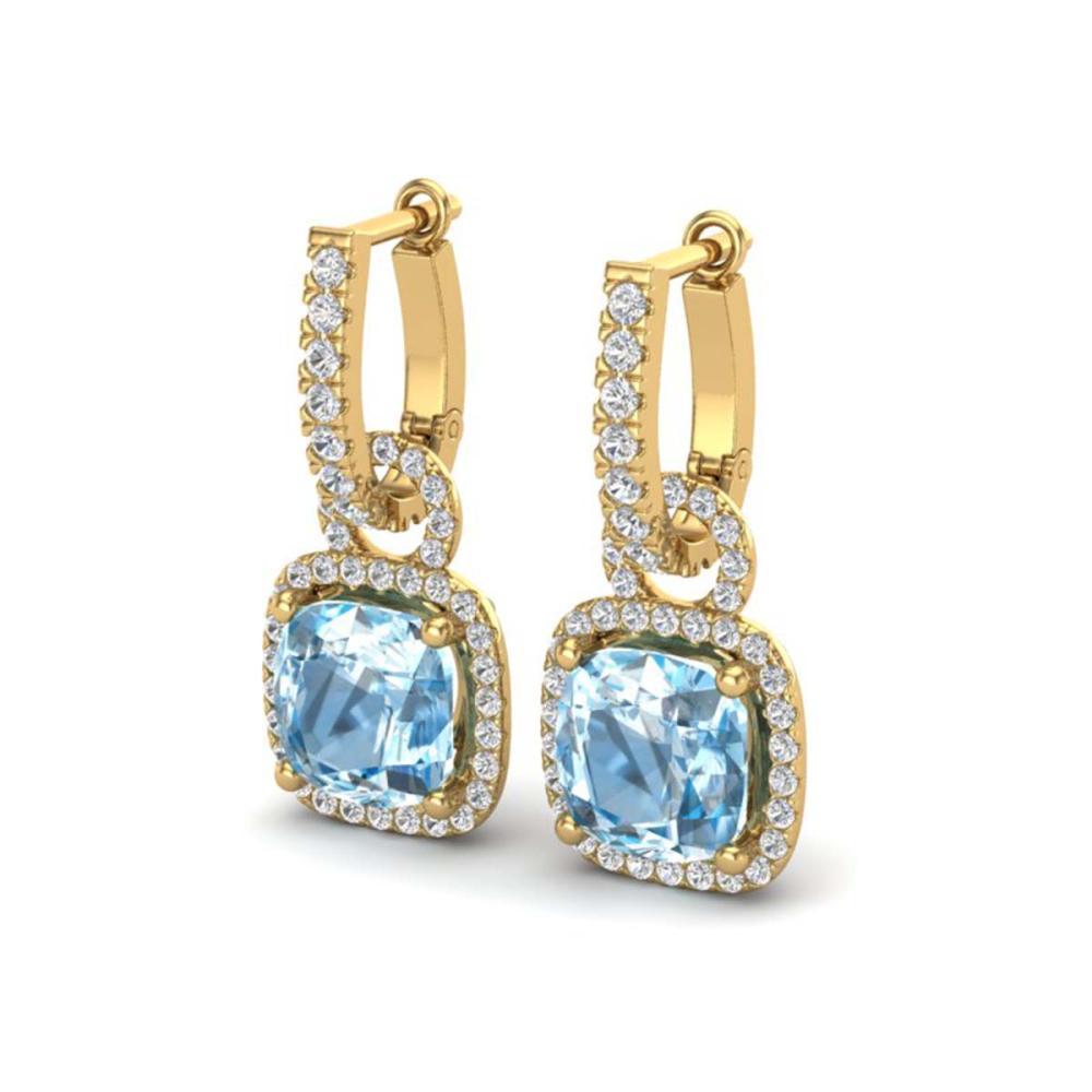 7 ctw Sky Blue Topaz & VS/SI Diamond Earrings 18K Yellow Gold - REF-98W2H - SKU:22974