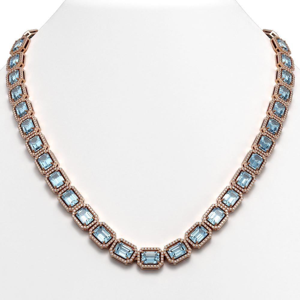 54.79 ctw Aquamarine & Diamond Halo Necklace 10K Rose Gold - REF-896X9R - SKU:41355
