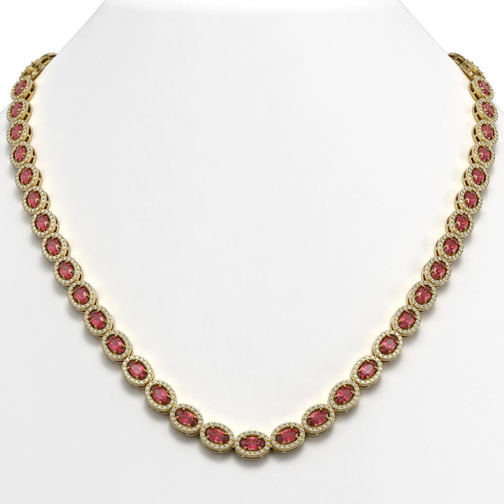 23.57 ctw Tourmaline & Diamond Halo Necklace 10K Yellow Gold - REF-544W9H - SKU:40318