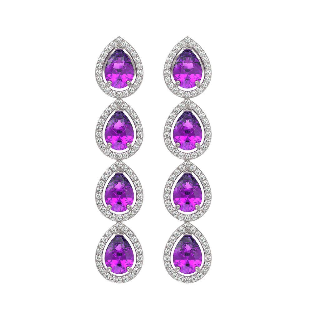 7.85 ctw Amethyst & Diamond Halo Earrings 10K White Gold - REF-152N7A - SKU:41177