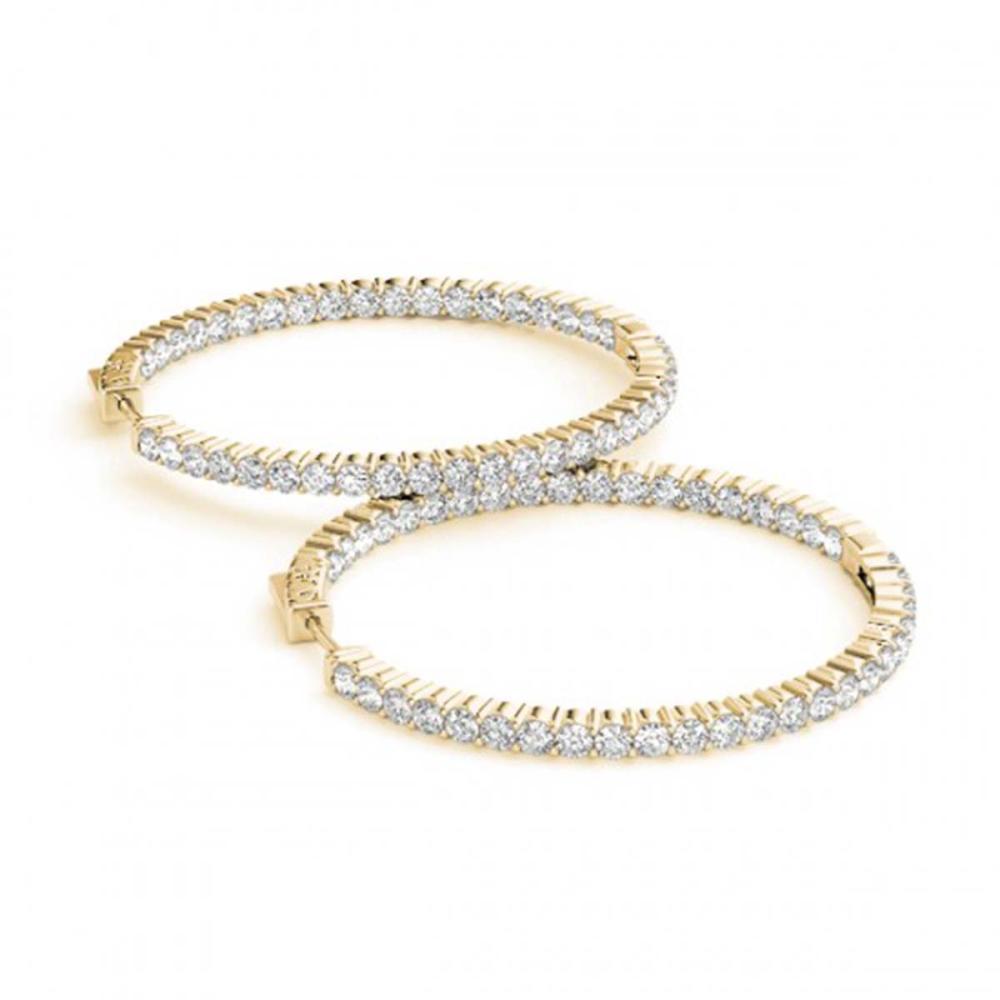 3 ctw Diamond VS/SI 32 mm Hoop Earrings 14K Yellow Gold - REF-192W7H - SKU:29031