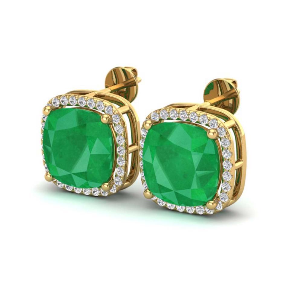 12 ctw Emerald & Halo VS/SI Diamond Earrings 18K Yellow Gold - REF-136K4W - SKU:23062