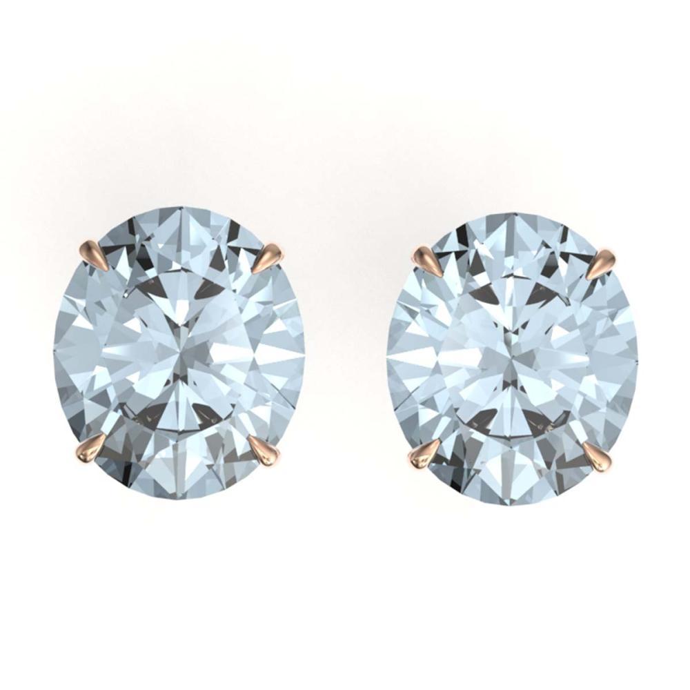 18 ctw Aquamarine Stud Earrings 14K Rose Gold - REF-327X3R - SKU:21691