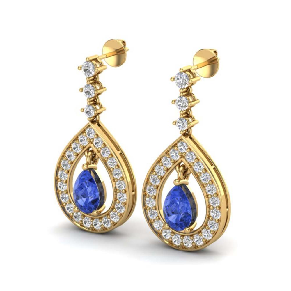2.25 ctw Tanzanite & VS/SI Diamond Earrings 14K Yellow Gold - REF-109Y3X - SKU:23159