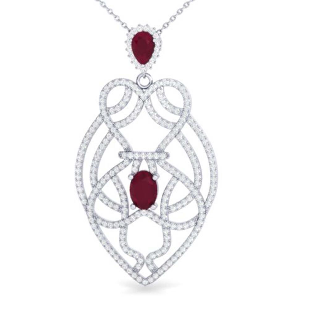 3.50 ctw Ruby & VS/SI Diamond Heart Necklace 14K White Gold - REF-179R6K - SKU:21250