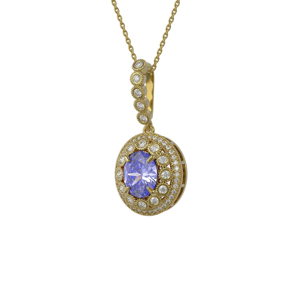 4.77 ctw Tanzanite & Diamond Necklace 14K Yellow Gold - REF-169M8F - SKU:43666