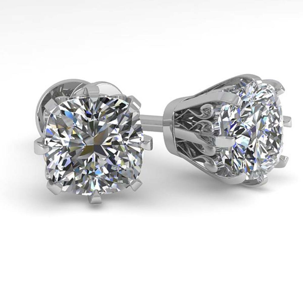 1.0 ctw VS/SI Cushion Cut Diamond Stud Earrings 14K White Gold - REF-117X9R - SKU:29535